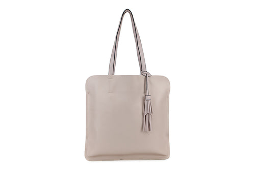 Beige Ladies Faux Leather Top Handled Tote bag with Tassle Detail - Quirky Giftz Ltd