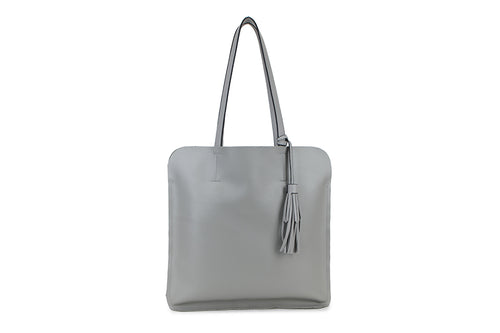 Grey Ladies Faux Leather Top Handled Tote bag with Tassle Detail - Quirky Giftz Ltd