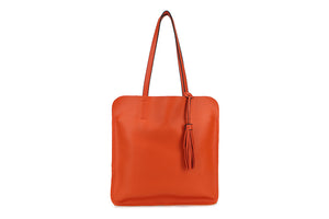 Orange Ladies Faux Leather Top Handled Tote bag with Tassle Detail - Quirky Giftz Ltd