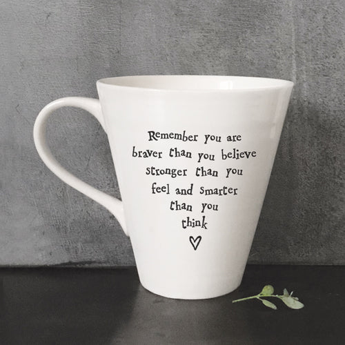East Of India Porcelain Mug ' You Are Braver Than You Believe...' - Quirky Giftz Ltd