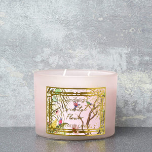 Candlelight Chinoiserie 2 Wick Wax Filled Candle Pot Oriental Flower Scent 380g - Quirky Giftz Ltd