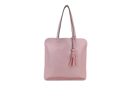 Pink Ladies Faux Leather Top Handled Tote bag with Tassle Detail - Quirky Giftz Ltd