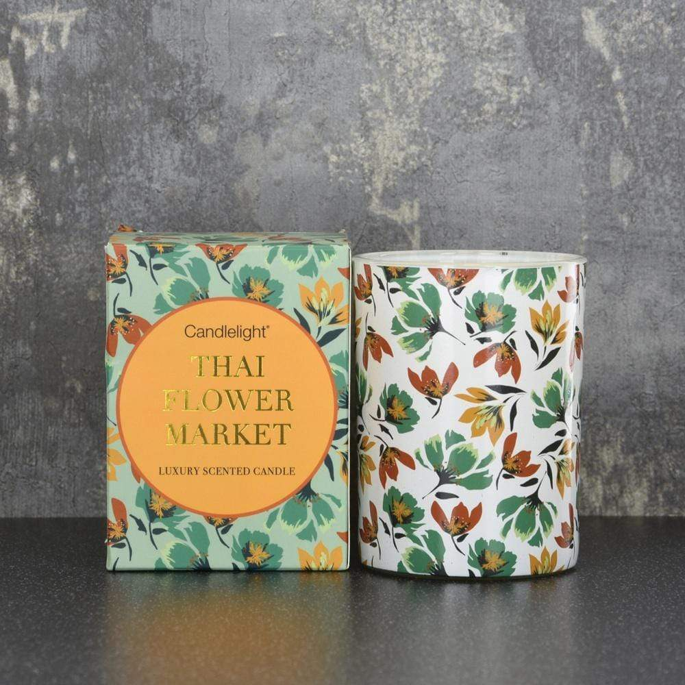 Candlelight Thailand Small Wax Filled Pot Candle in Gift Box Thai Flower Market Scent 220g - Quirky Giftz Ltd