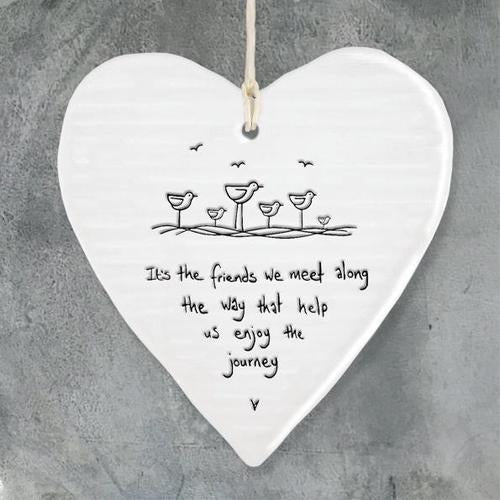 Hanging Porcelain Heart - Quirky Giftz Ltd