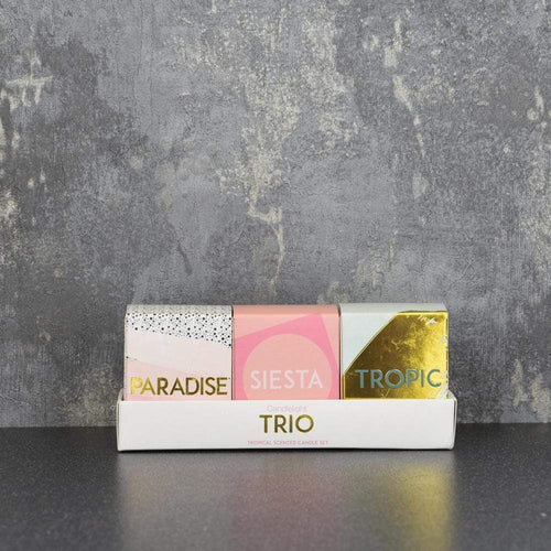 Candlelight Trio Set of 3 Mini Votive Candles Gift Box Pineapple Scent 50g - Quirky Giftz Ltd