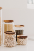 Load image into Gallery viewer, Glass and wood storage jars