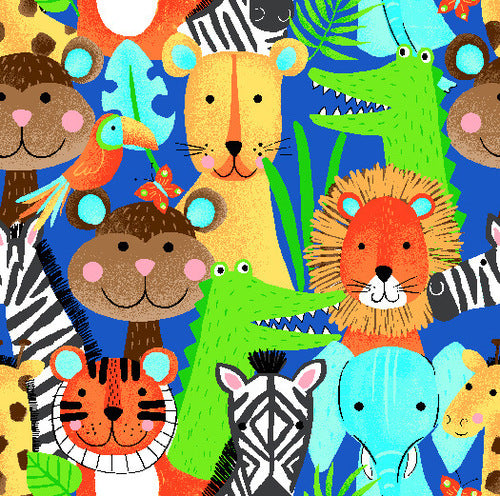 1m Comfy Prints Flannel Jungle Animals - Blue (Flannel)