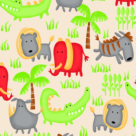 1m Comfy Prints Flannel Jungle Animals - Cream (Flannel)