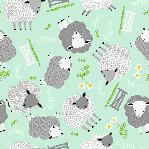 1m Comfy Prints Flannel Sheep - Mint (Flannel)