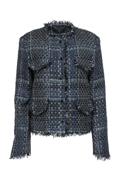 Rag & Bone - Navy & Black Shimmer Tweed Jacket w/ Elbow Patches Sz 10
