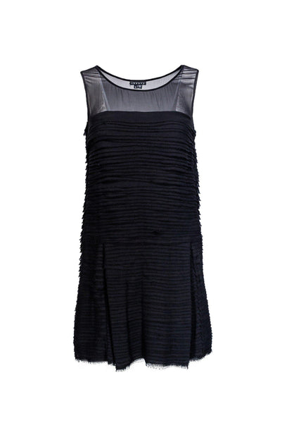 Cocktail Sleeveless Silk Tiered Mesh Animal Print Little Black Dress/Party Dress With Ruffles