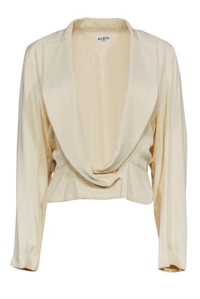 Current Boutique-Alaia - Cream Low Collar Two-Button Jacket Sz 12