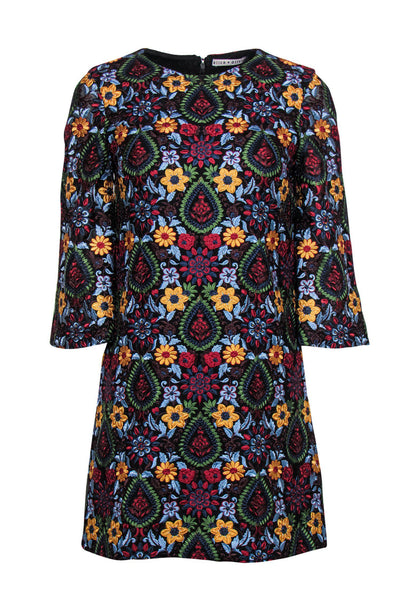 Current Boutique-Alice & Olivia - Multicolored Embroidered Floral Shift Dress Sz 2