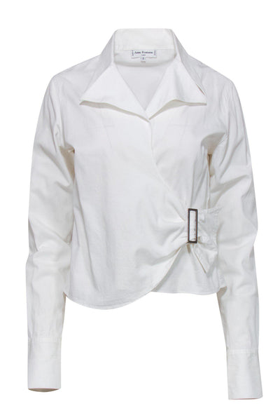 Current Boutique-Ann Fontaine - White Buckled Wrap Blouse Sz S
