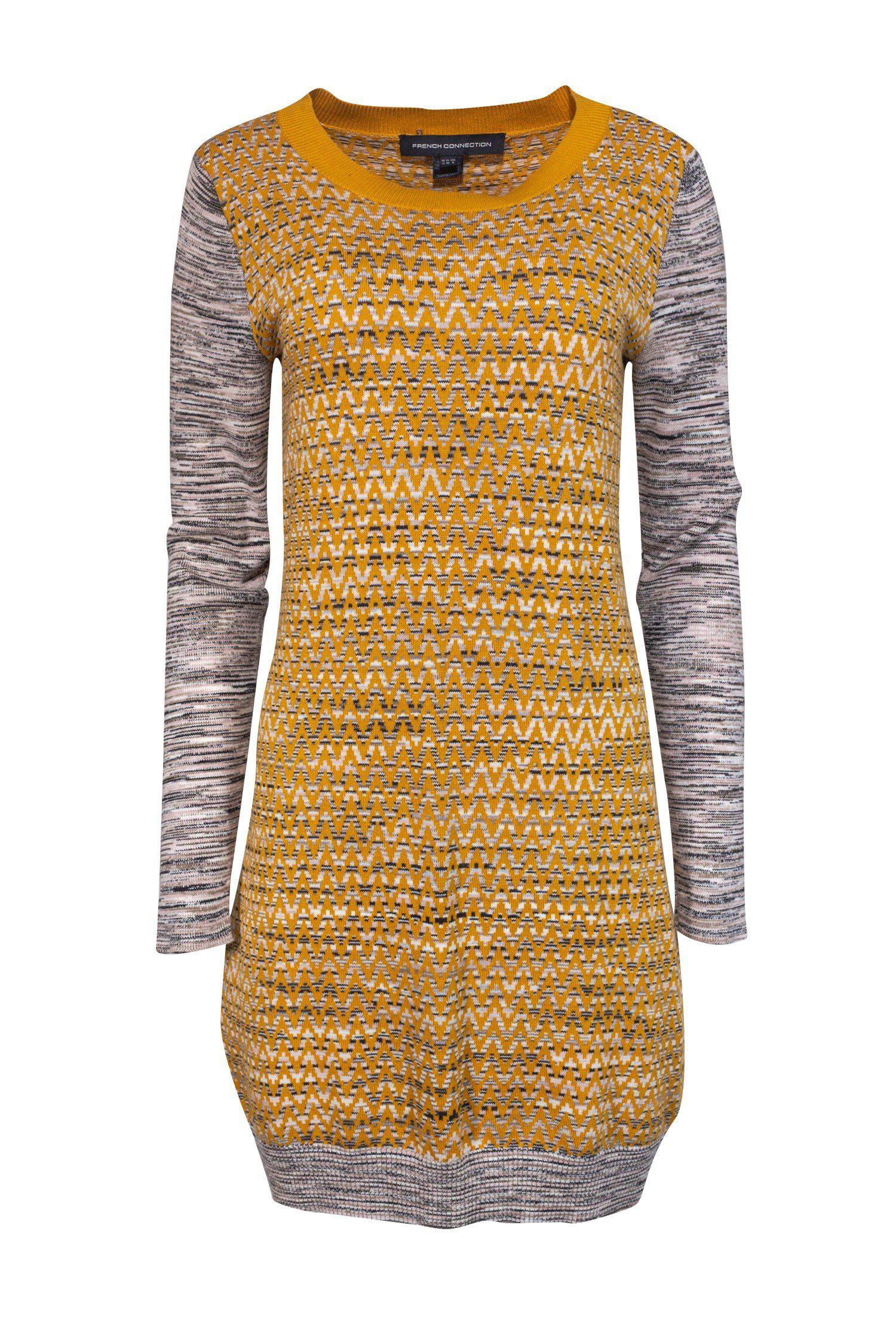 French Connection - Mustard Sweater Dress Sz 8