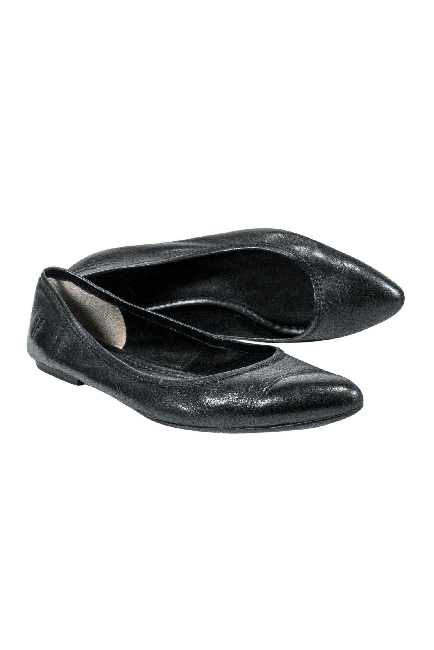 Frye - Black Leather Pointed-Toe Ballet Flats Sz 8.5