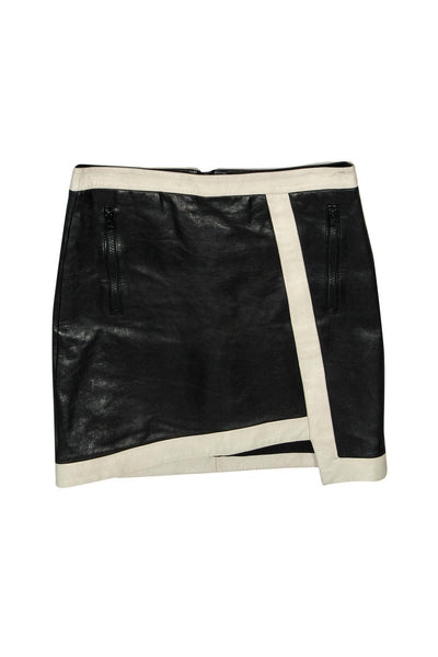 Current Boutique-Helmut Lang - Black Leather Envelope Skirt w/ Beige Trim Sz 0