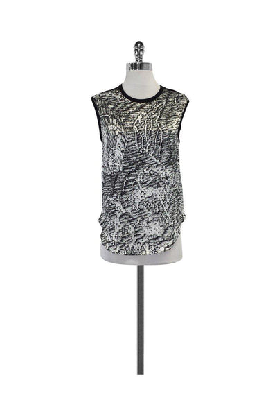 Current Boutique-Helmut Lang - White & Black Abstract Print Tank Sz P