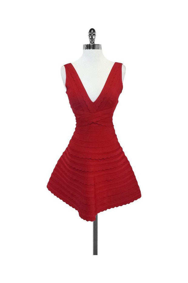 Current Boutique-Herve Leger - Nikayla Red Sleeveless Dress Sz S