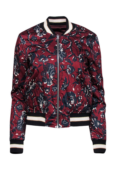 Current Boutique-Isabel Marant Etoile - Maroon Floral Bomber Jacket w Embroidery Sz 4