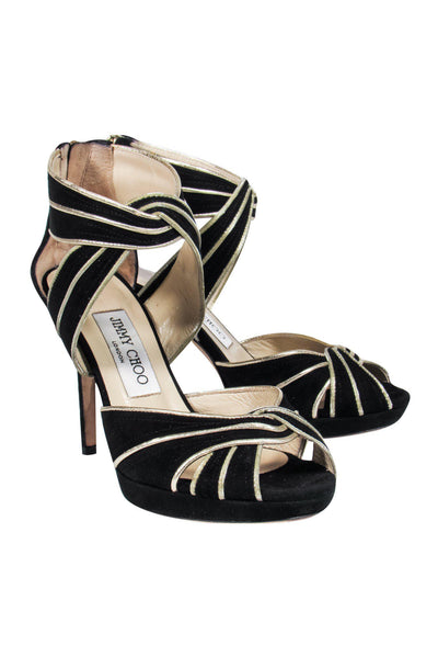 Current Boutique-Jimmy Choo - Black Suede & Gold Piping Pumps Sz 5.5