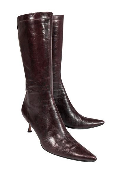 Current Boutique-Jimmy Choo - Burgundy Kitten Heel Leather Boots Sz 7.5