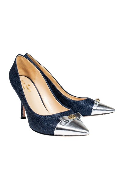 Current Boutique-Kate Spade - Navy Blue Textured Pumps w/ Silver Toe Cap Sz 7.5