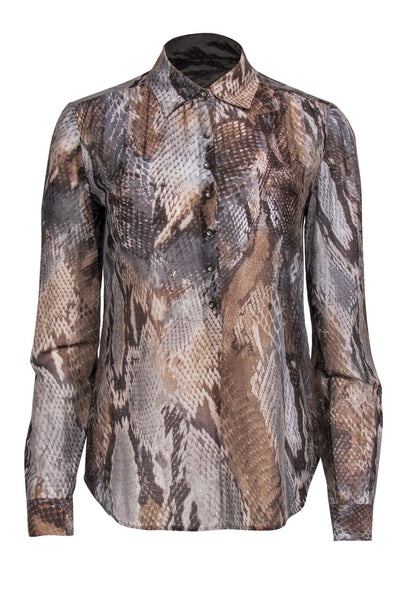 Current Boutique-L'Agence - Grey & Brown Snakeskin Print Button Up Blouse Sz OS