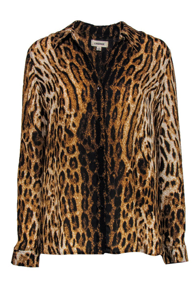 Current Boutique-L'Agence - Leopard Print Button-Up Long Sleeve Silk Blouse Sz L