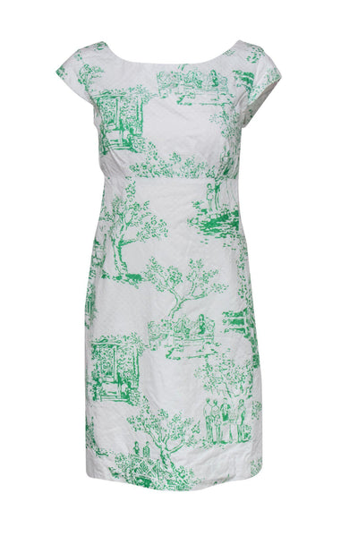 Current Boutique-Lilly Pulitzer - Amberley Print White Sheath Dress Sz 8