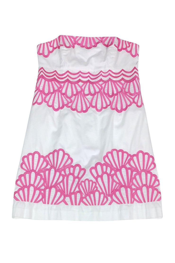 Current Boutique-Lilly Pulitzer - Strapless White and Pink Shell Print Dress Sz 12