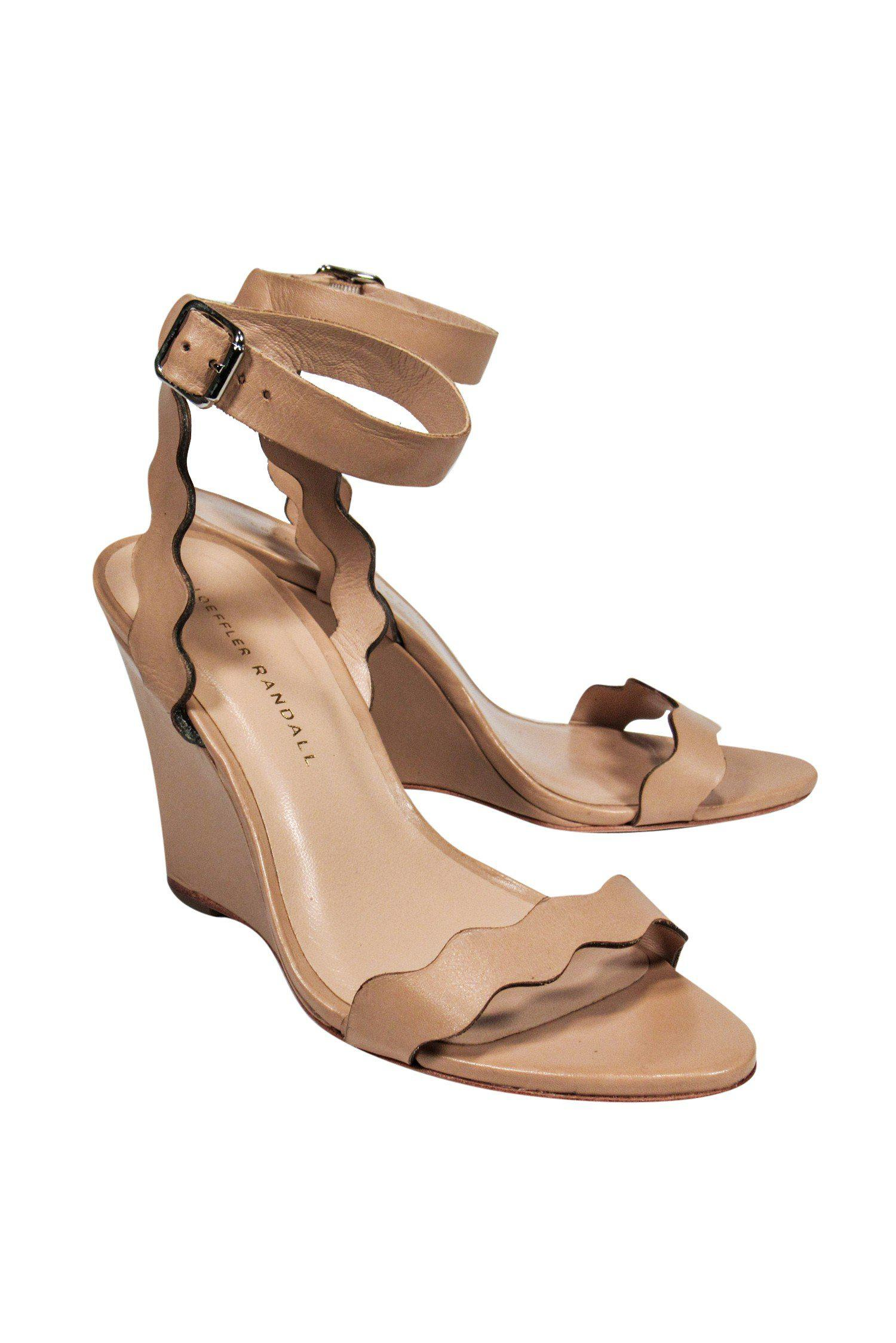 Loeffler Randall - Tan Leather Wave Cutout Wedge Sandals Sz 7