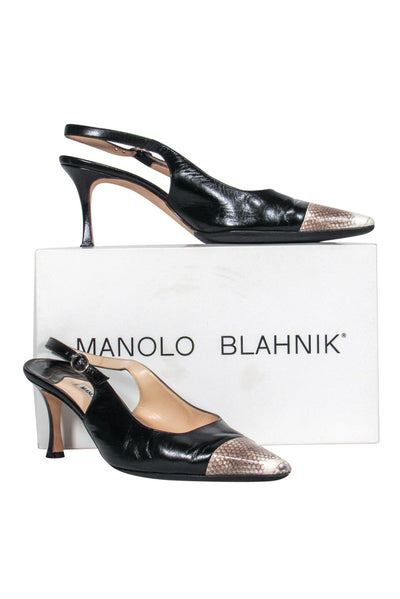 Current Boutique-Manolo Blahnik - Black Leather Slingback Pumps w/ Pointed Snakeskin Toe Sz 9.5