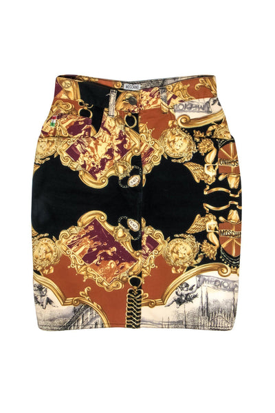 Current Boutique-Moschino Jeans - Black, Orange & Burgundy Reinassance Print Denim Pencil Skirt Sz S