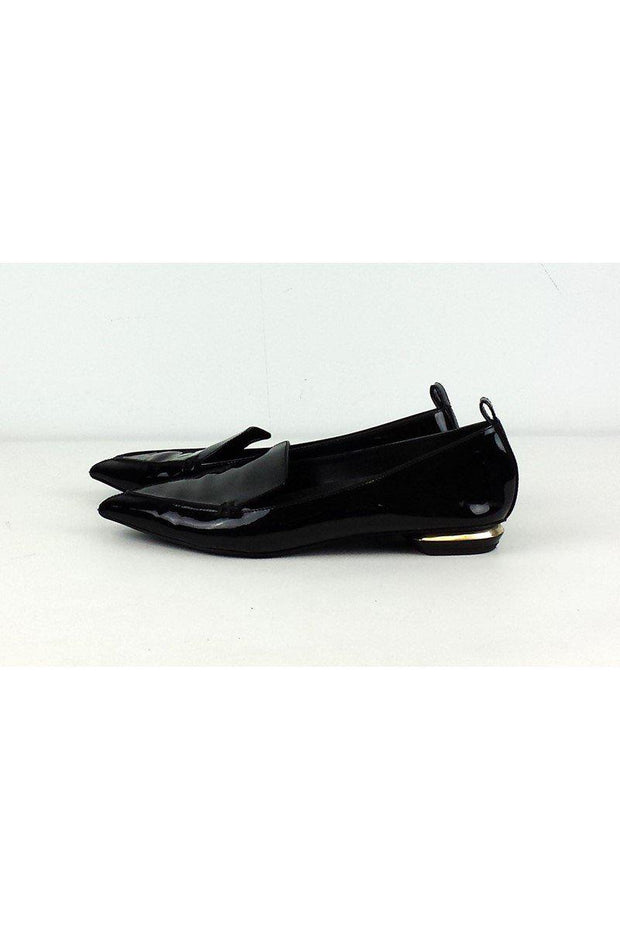 Current Boutique-Nicholas Kirkwood - Black Pointed Toe Patent Leather Loafers Sz 8