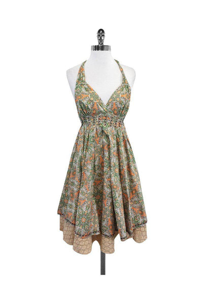 Current Boutique-Odd Molly - Orange & Green Paisley Cotton Halter Dress Sz 2