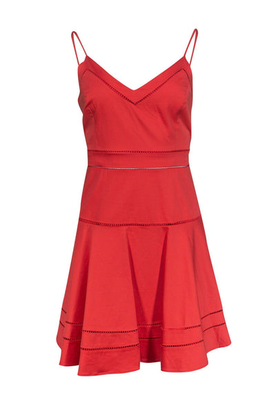 Current Boutique-Parker - Coral Eyelet Fit & Flare Dress Sz L