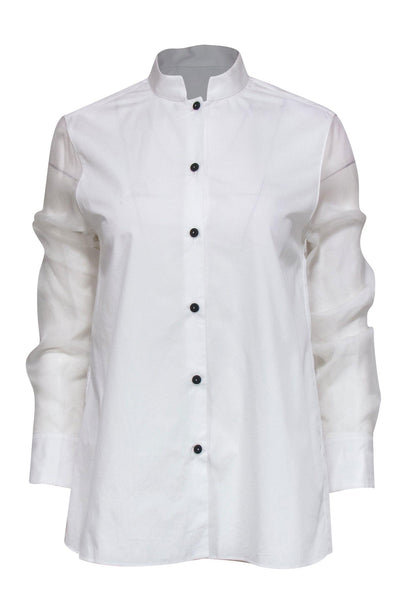 Current Boutique-Piazza Sempione - White Button-Up Blouse w/ Sheer Sleeves Sz 6
