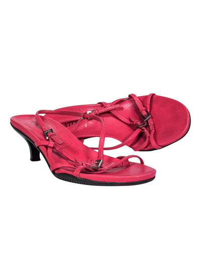 Current Boutique-Prada - Bright Pink Leather Strappy Kitten Heels Sz 8