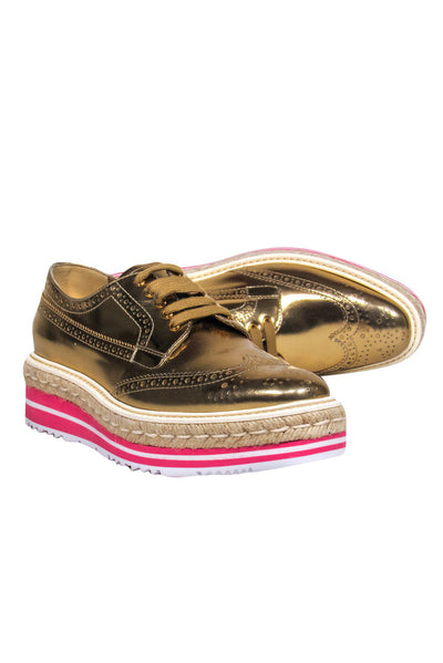 Current Boutique-Prada - Gold Leather Platform Lace-Up Oxfords Sz 8.5