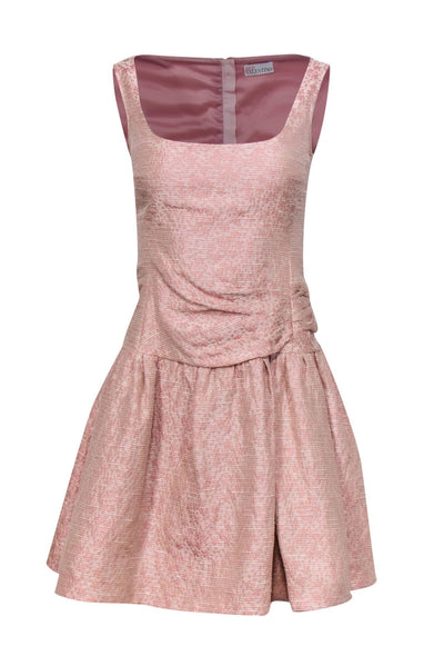 Current Boutique-Red Valentino - Light Pink Textured Sleeveless Drop Waist Dress Sz S