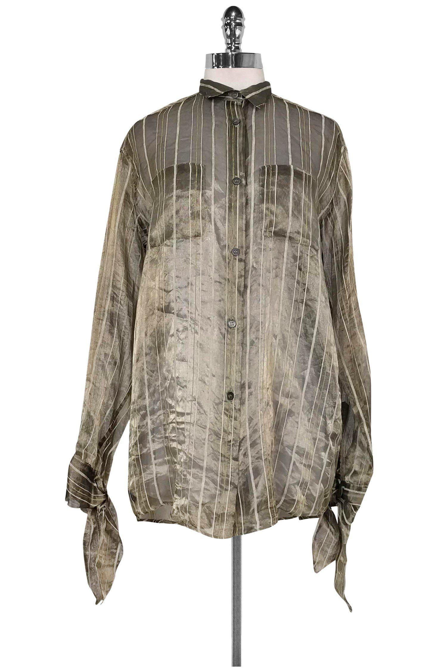Romeo Gigli - Gold Semi -Sheer Button Down Top Sz 8