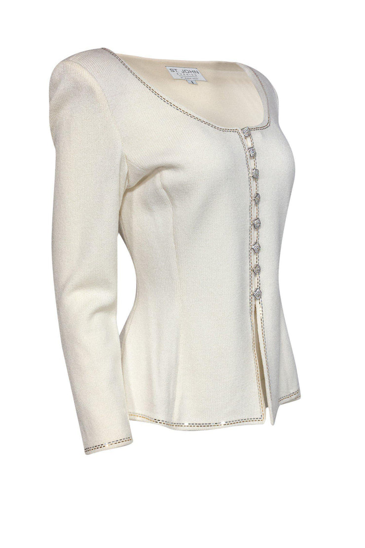 Current Boutique-St. John Evening - Ivory Knit Jacket w/ Gold- & Silver-Toned Details Sz 8