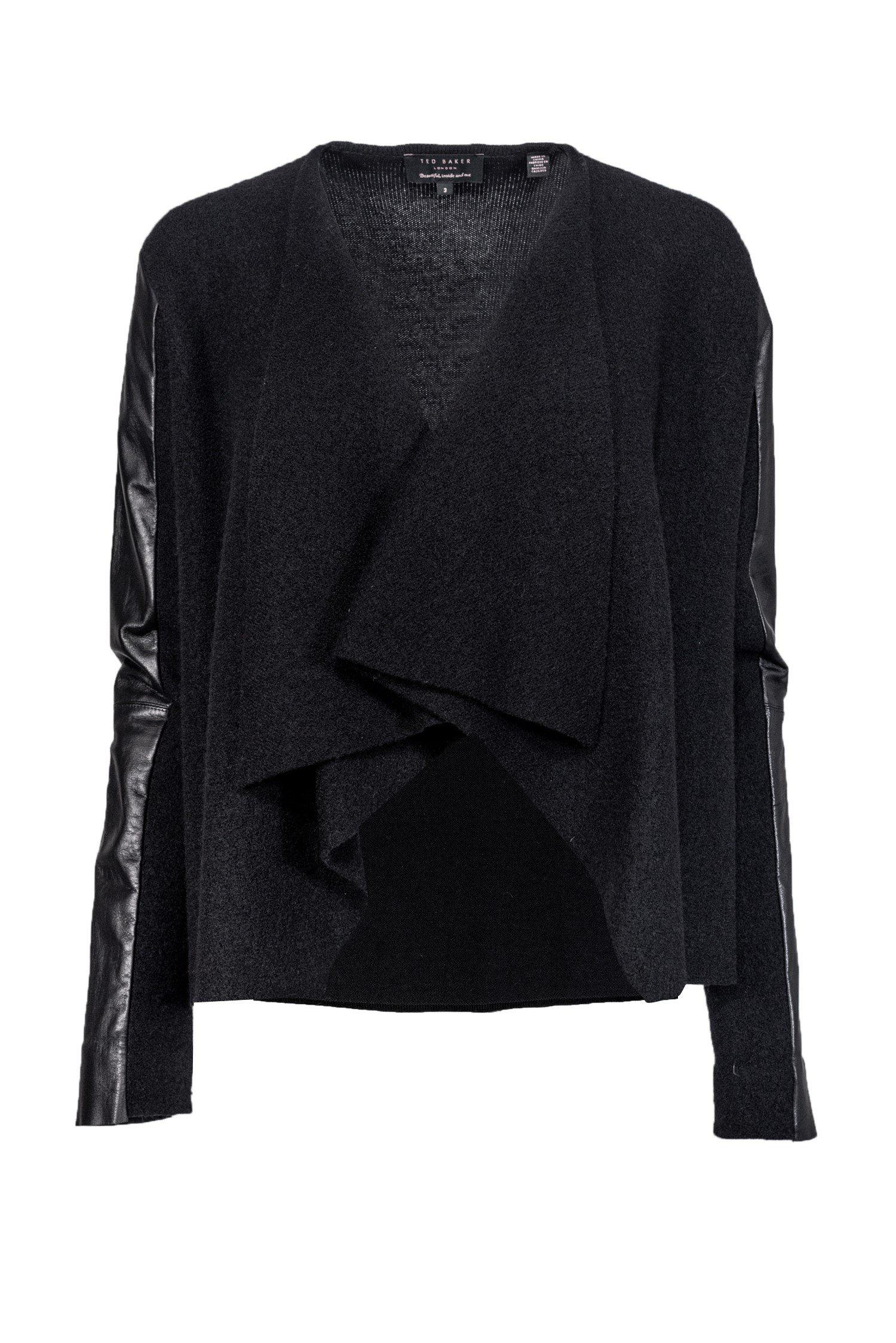 Ted Baker - Black Wool & Leather Cardigan Sz 8