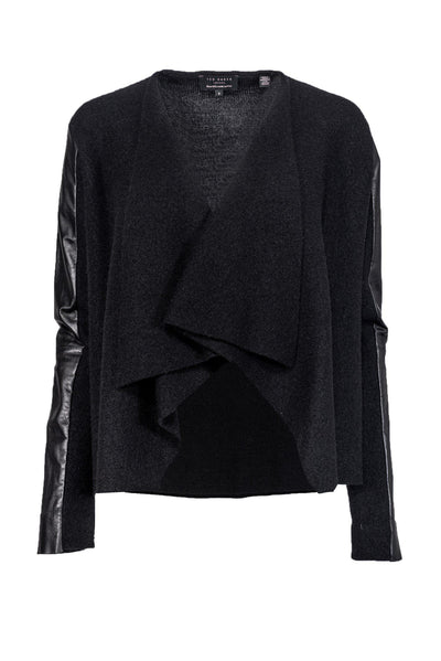 Current Boutique-Ted Baker - Black Wool & Leather Cardigan Sz 8