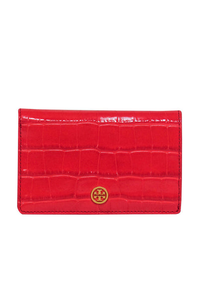 Current Boutique-Tory Burch - Bright Red Embossed Leather Snap Wallet