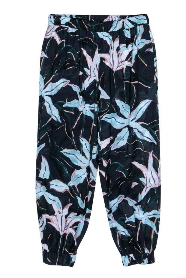Current Boutique-Tory Burch - Navy, Blue & Pink Floral Print Joggers Sz S