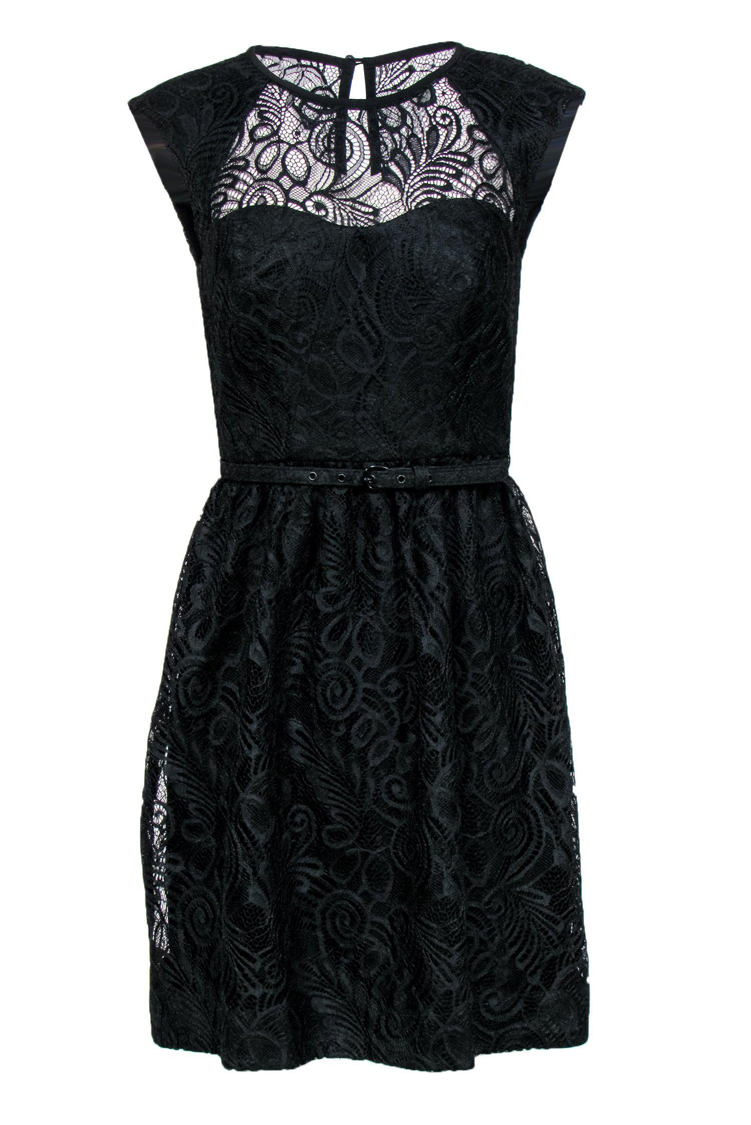 Trina Turk - Black Lace A-Line Dress w/ Belt Sz 2