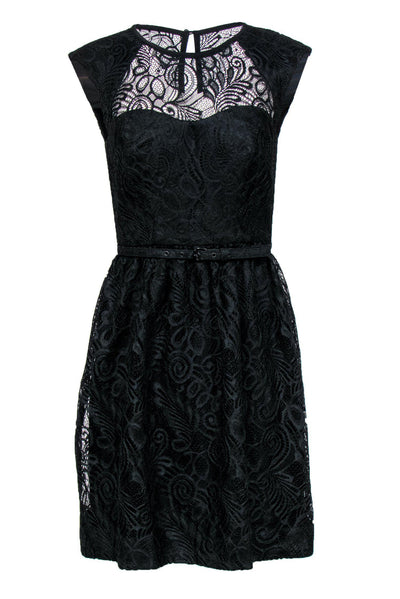 Current Boutique-Trina Turk - Black Lace A-Line Dress w/ Belt Sz 2