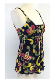 Current Boutique-Trina Turk - Navy & Yellow Paisley Print Silk Tank Sz P